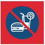 Запрещена напитки и еда